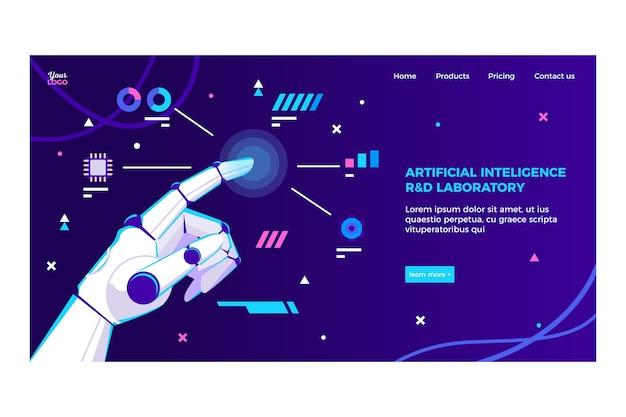 Landingpage-vorlage für künstliche intelligenz Kostenlosen Vektoren