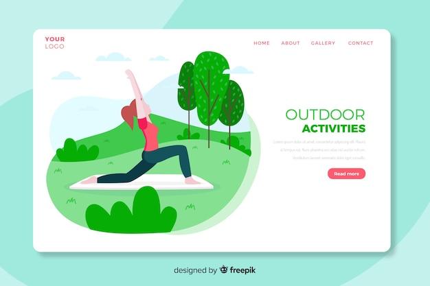 Landingpage-vorlage für outdoor-aktivitäten Kostenlosen Vektoren