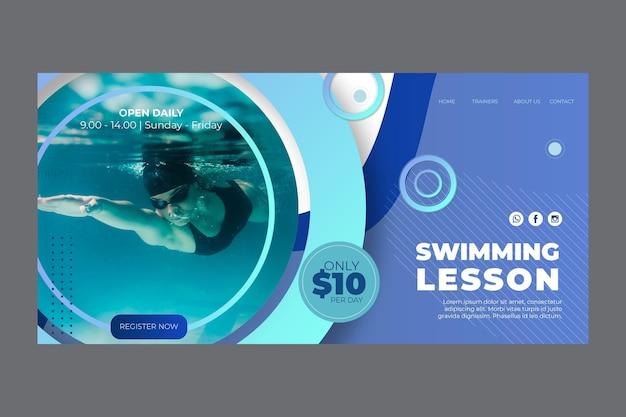 Landingpage-vorlage für schwimmunterricht Kostenlosen Vektoren