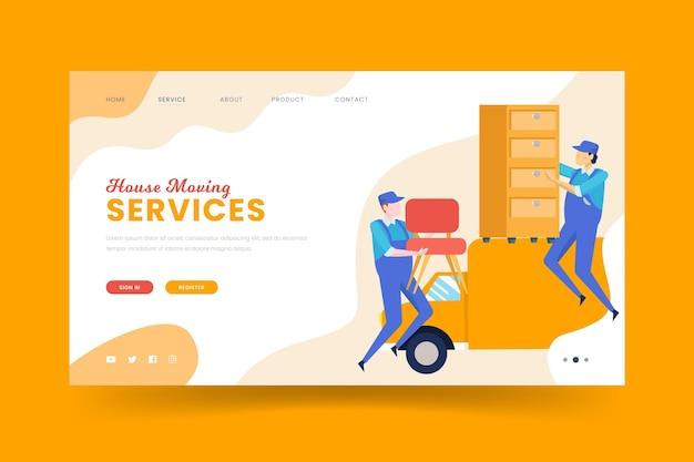 Landingpage-vorlage für umzugsdienste Kostenlosen Vektoren