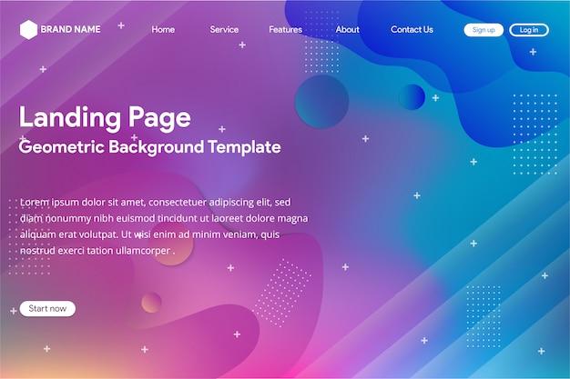 Landingpage-vorlage mit abstrakten verlaufsgitter-design Premium Vektoren