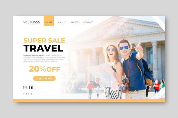 Landingpage-vorlage mit foto für den reiseverkauf Kostenlosen Vektoren