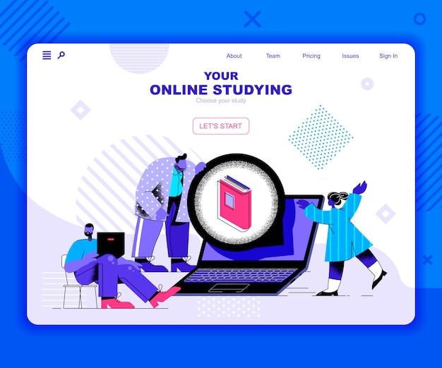 Landingpage-vorlage online studieren Premium Vektoren