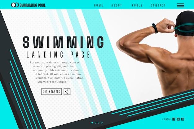 Landingpage-vorlage schwimmen Kostenlosen Vektoren