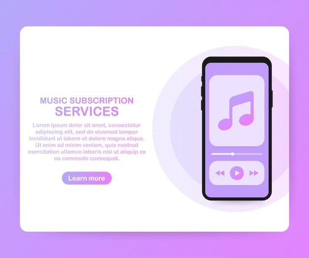 Landingpage-websitevorlage für musikabonnements. vektorisometrischer smartphone mit kopfhörern. vektor-illustration. Premium Vektoren