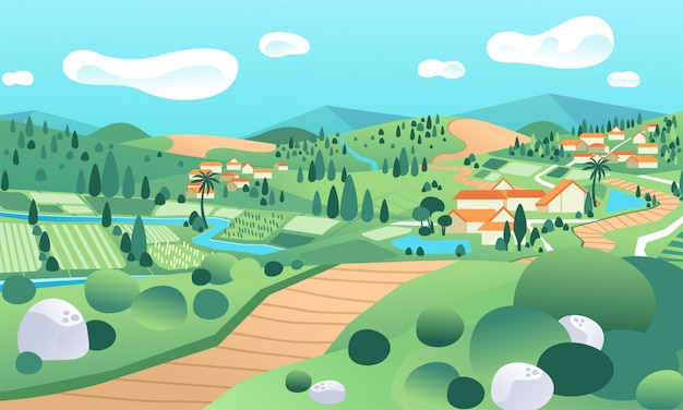 Landlandschaft mit reisfeld und häusern im hügel Premium Vektoren