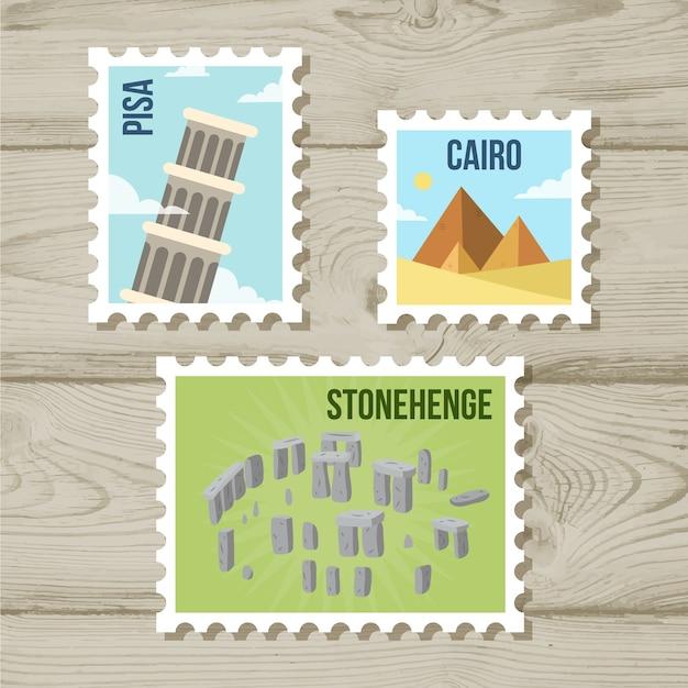 Landmark briefmarken sammlung mit städten und denkmälern Kostenlosen Vektoren