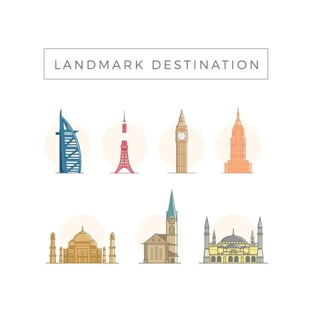 Landmark reiseziel Premium Vektoren