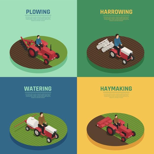 Landmaschinen 4 isometrische zusammensetzungen Kostenlosen Vektoren