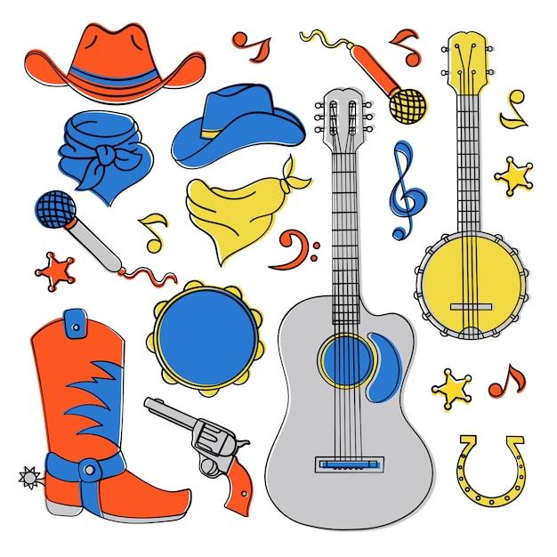 Landmusikband western festival Premium Vektoren