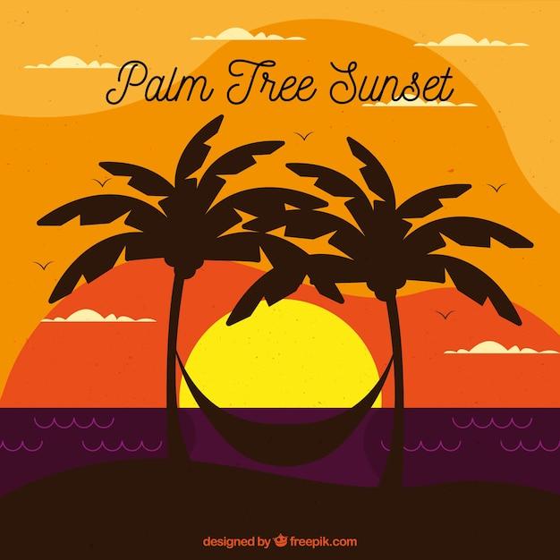 Landschaft bei sonnenuntergang mit palmen und hängematte Kostenlosen Vektoren