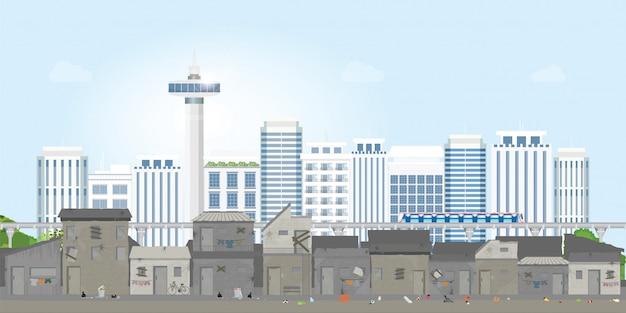 Landschaft der slumstadt Premium Vektoren