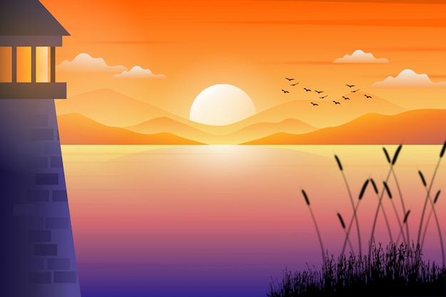 Landschaft des leuchtturmes mit bunter schöner sonnenunterganghimmel- und -seelandschaftsillustration Premium Vektoren