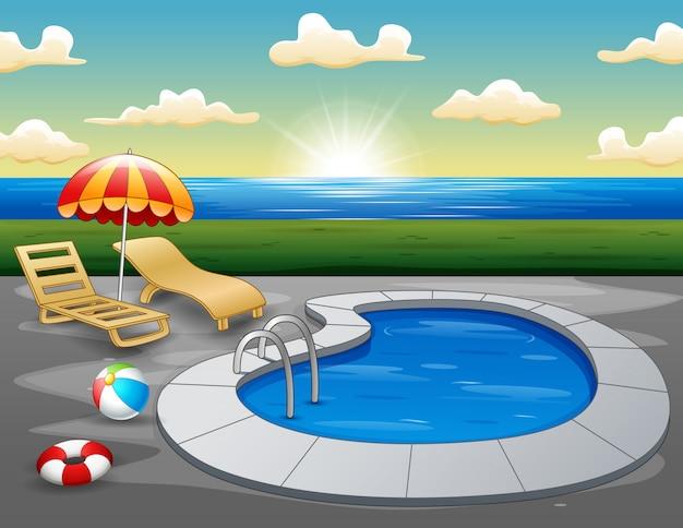 Landschaft des schwimmbades auf dem strand morgens Premium Vektoren