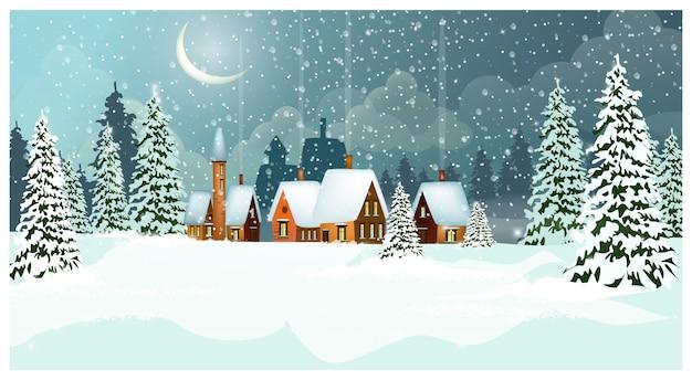 Landschaft des verschneiten winters mit häuschen und tannenbäumen Kostenlosen Vektoren