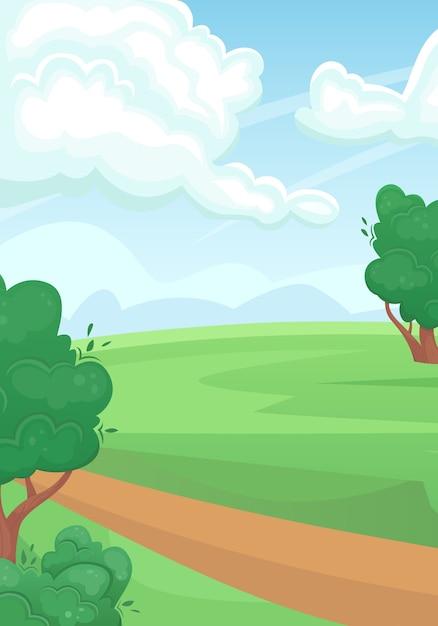 Landschaft eines grünen sommerfeldes mit einer unbefestigten straße. natürliche landschaft. Premium Vektoren