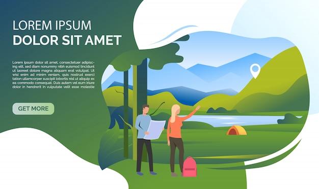 Landschaft, frau, mann, rucksack, karte und beispieltext Kostenlosen Vektoren