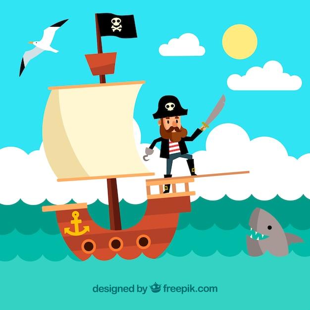 Landschaft hintergrund mit piraten segeln in flachen design Kostenlosen Vektoren