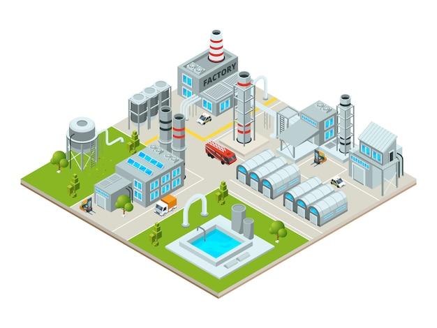 Landschaft im freien mit fabrikgebäuden Premium Vektoren