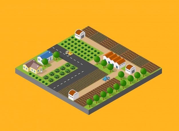 Landschaft im ländlichen raum mit der natur Premium Vektoren