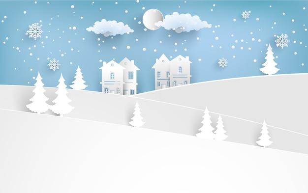 Landschaft im winter mit häusern und schneebedeckten hügeln Premium Vektoren