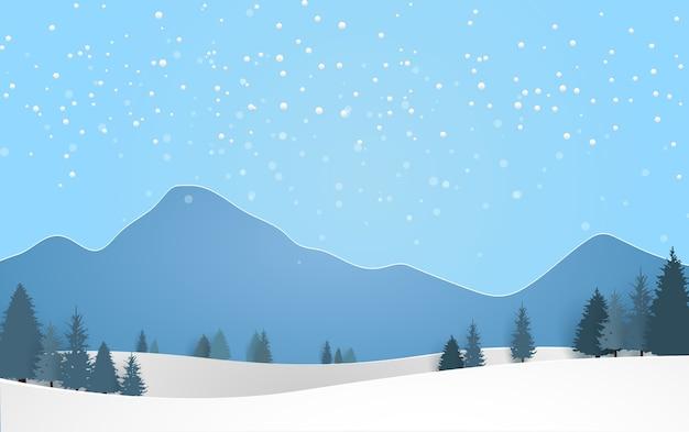 Landschaft im winter. schnee und schöner kieferhintergrund Premium Vektoren