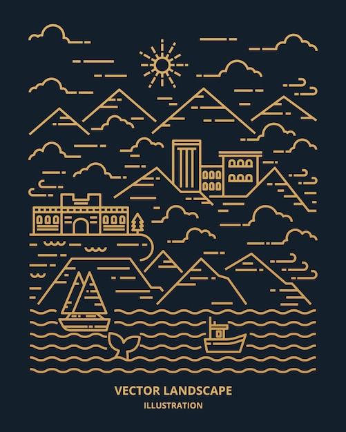 Landschaft in moderner flacher linie. dünne linienlandschaft mit berg, ozean, gebäude, wolken, sonne, boot, wal. illustration. Premium Vektoren