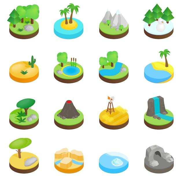 Landschaft isometrische ikonen 3d Premium Vektoren