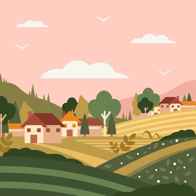 Landschaft landschaft Kostenlosen Vektoren