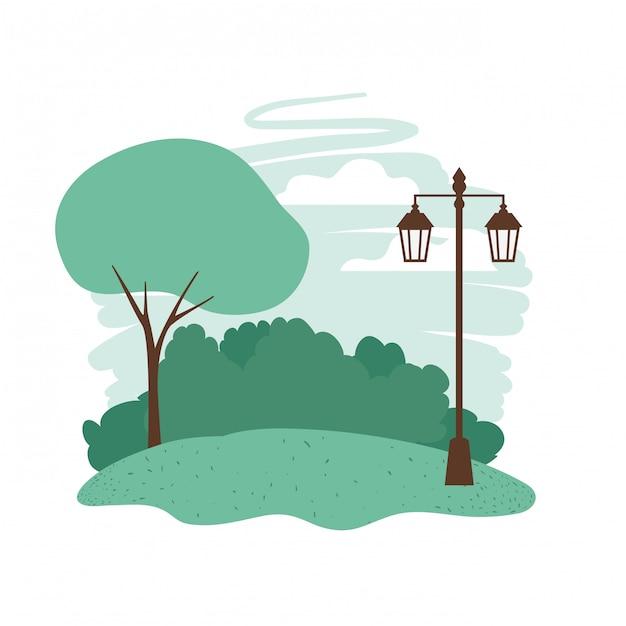 Landschaft mit bäumen und pflanzen isoliert symbol Premium Vektoren