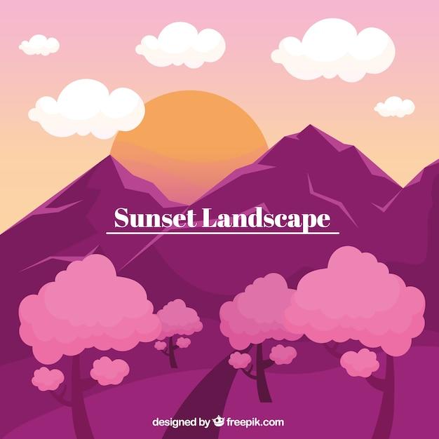 Landschaft mit bergen, sonnenuntergang Kostenlosen Vektoren