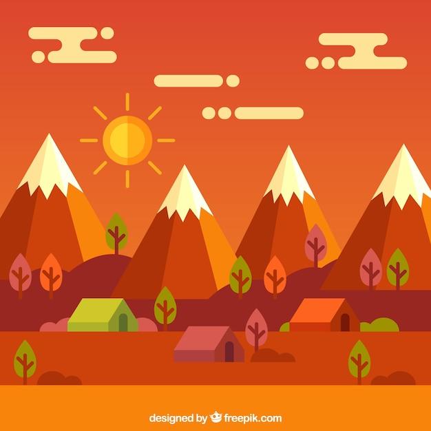 Landschaft mit bergen, warmen tönen Kostenlosen Vektoren