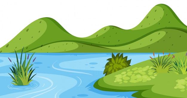 Landschaft mit grünem berg und fluss Premium Vektoren