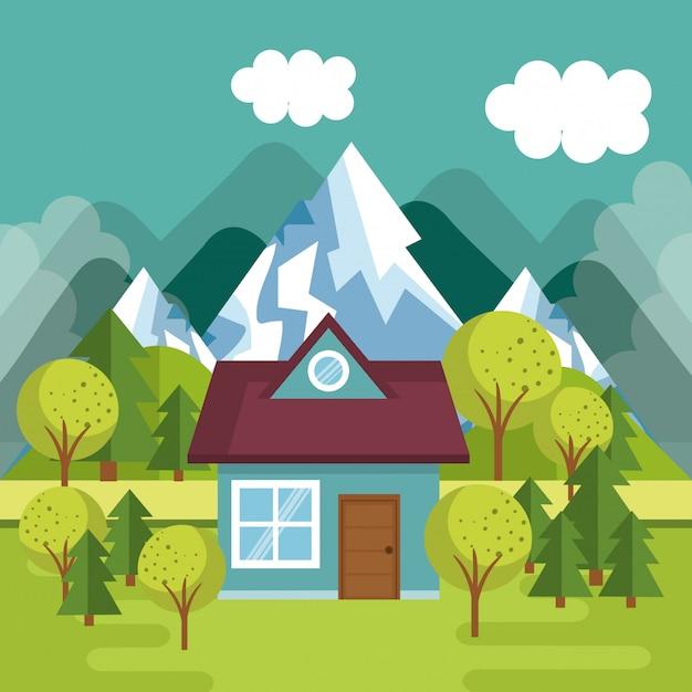 Landschaft mit hausszene Kostenlosen Vektoren