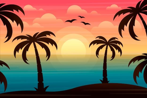 Landschaft mit palmen Premium Vektoren