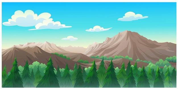 Landschaft wald tagsüber so schön. Premium Vektoren