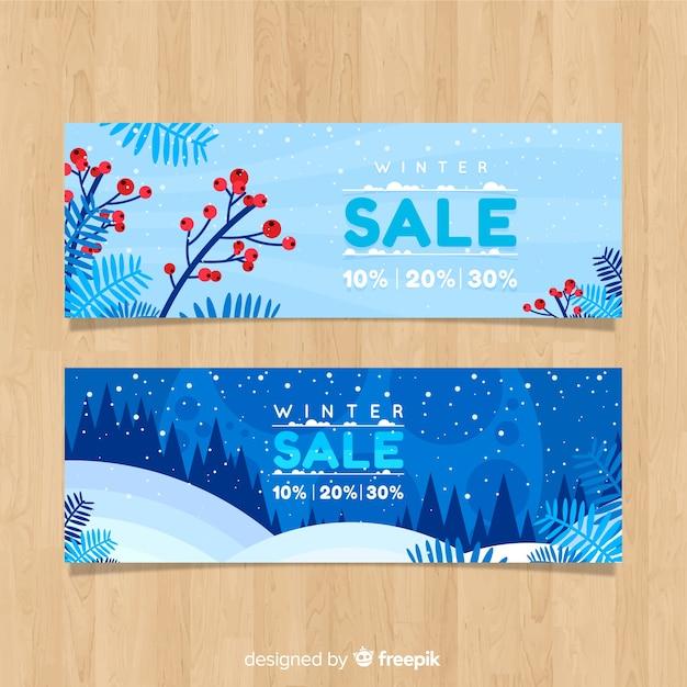 Landschaft winterschlussverkauf banner Kostenlosen Vektoren