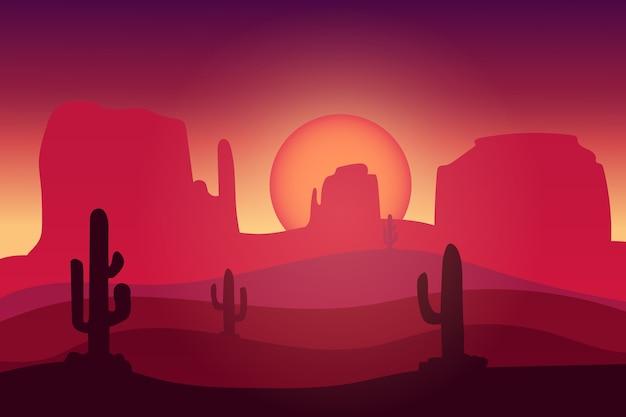 Landschaft wüstenkaktus dunkle atmosphäre rot Premium Vektoren