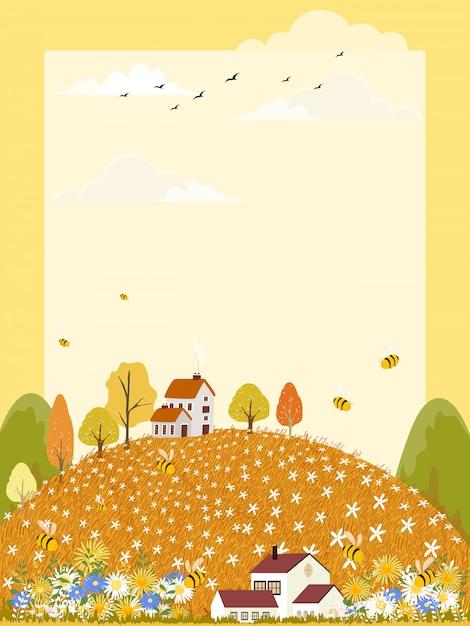 Landschaften des netten karikaturbauernhoffeldes im herbst mit der biene, die blütenstaub auf blumen sammelt. Premium Vektoren