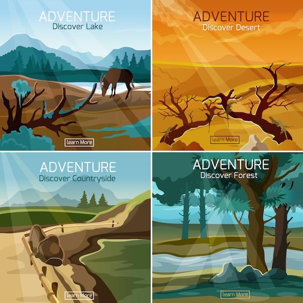 Landschaften reisen 4 flache ikonenquadrat Kostenlosen Vektoren