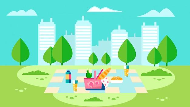 Landschafts-picknick-vorbereitungs-flache illustration Premium Vektoren