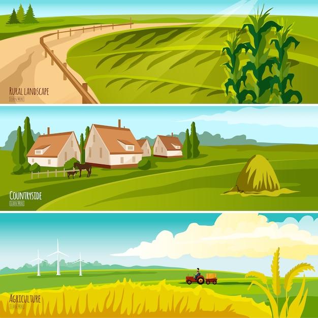 Landschaftscropland unter bearbeitung und bauernhäuser mit horizontalen flachen fahnen des heuschobers 3 eingestellt Kostenlosen Vektoren