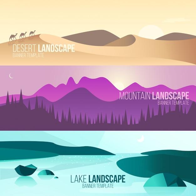 Landschaftsfahnen Kostenlose Vektoren