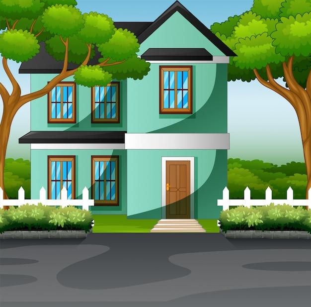 Landschaftsfamilienhaus mit vorgartenrasenkonzept Premium Vektoren