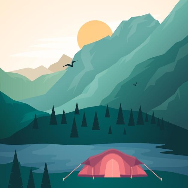 Landschaftsgestaltung des campingplatzes Kostenlosen Vektoren