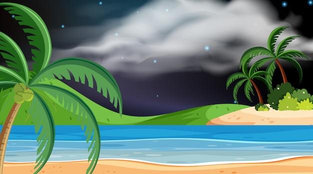 Landschaftsgestaltung von ozean nachts Premium Vektoren