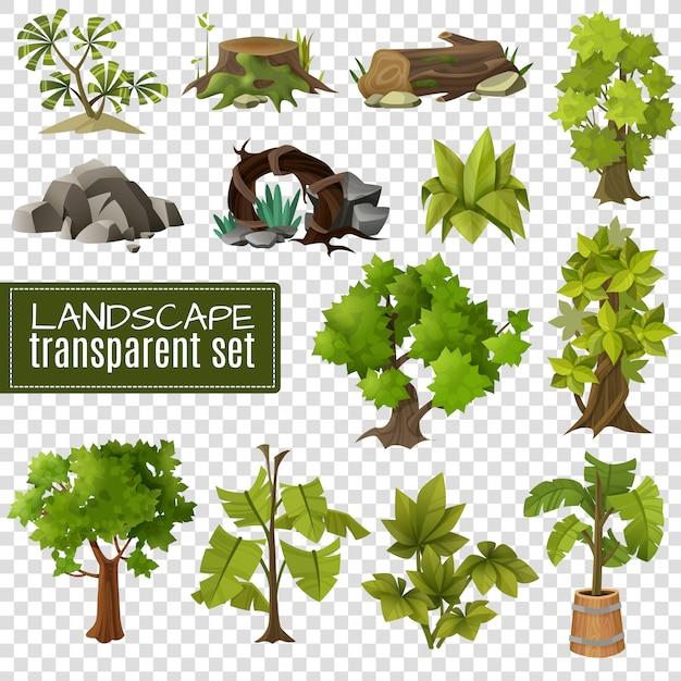 Landschaftsgestaltungselemente setzen transparenten hintergrund Kostenlosen Vektoren