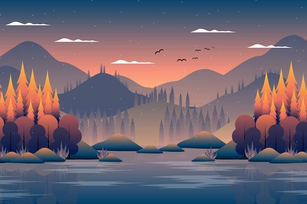 Landschaftsherbstwald mit berg- und himmelillustration Premium Vektoren