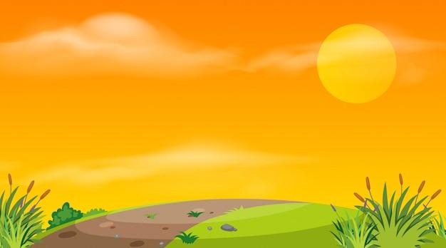 Landschaftshintergrund der leeren straße bei sonnenuntergang Premium Vektoren
