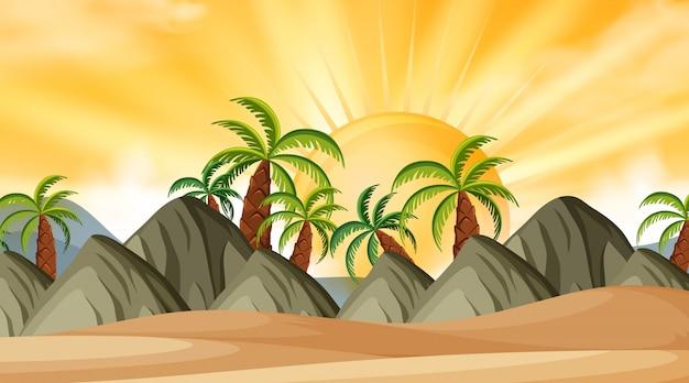 Landschaftshintergrund des strandes bei sonnenuntergang Premium Vektoren